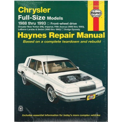 CHRYSLER Full-Size Models 1988 TO 1993 MODELS OWNERS WORKSHOP MANUAL / HAYNES Librairie Automobile SPE 25020