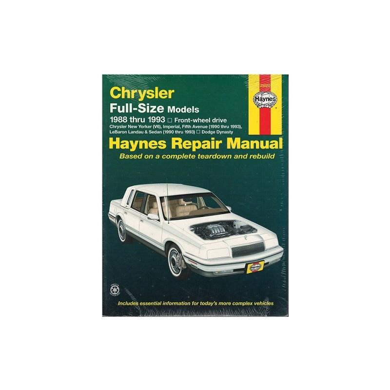 CHRYSLER Full-Size Models 1988 TO 1993 MODELS OWNERS WORKSHOP MANUAL / HAYNES Librairie Automobile SPE 25020