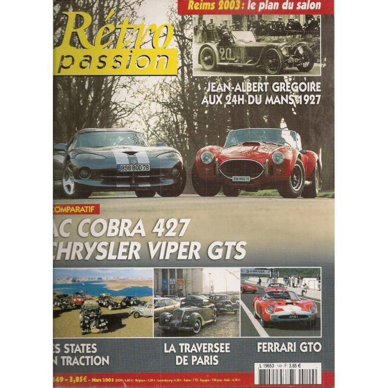 RETRO PASSION AC COBRA 427 CHRYSLER VIPER GTS N°149 Librairie Automobile SPE RETRO PASSION N°149