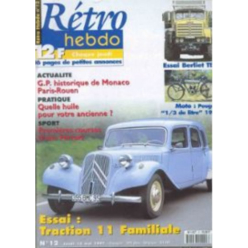 RETRO HEBDO TRACTION 11 FAMILIALE N°12 Librairie Automobile SPE RETRO HEBDO N°12