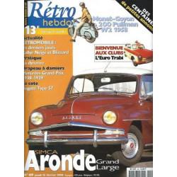 RETRO HEBDO SIMCA ARONDE GRAND LARGE N°49 Librairie Automobile SPE RETRO HEBDO N°49