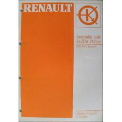 MANUEL DE REPARATION RENAULT AUTORADIO CODE PHILIPS 4X20W Librairie Automobile SPE 7711093898