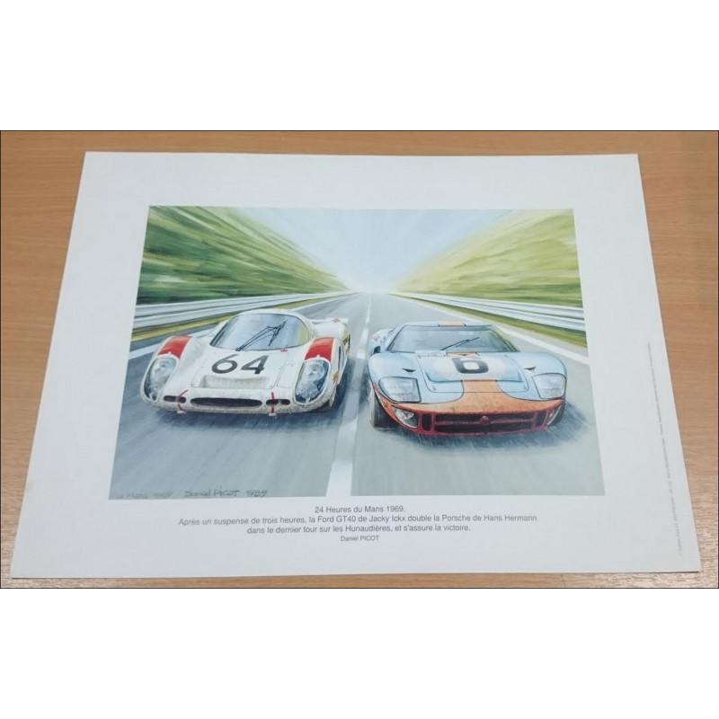 Reproduction - 24 Heures du Mans 1969 - FORD GT40 Daniel PICOT Librairie Automobile SPE picot69