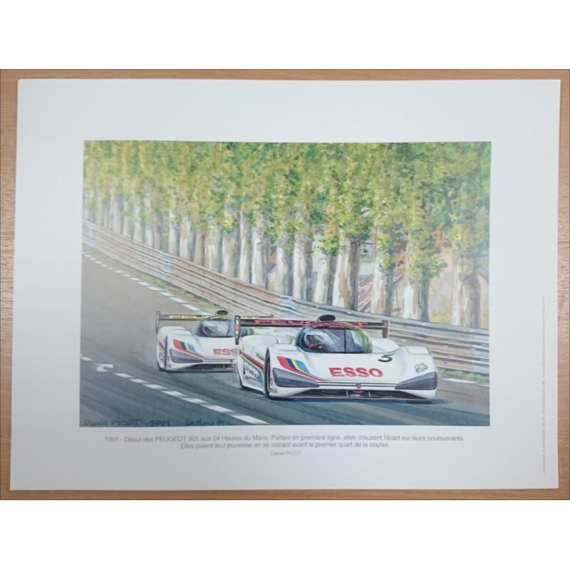 Reproduction - 24 heures du Mans 1991 - PEUGEOT 905, Daniel PICOT Librairie Automobile SPE picot91