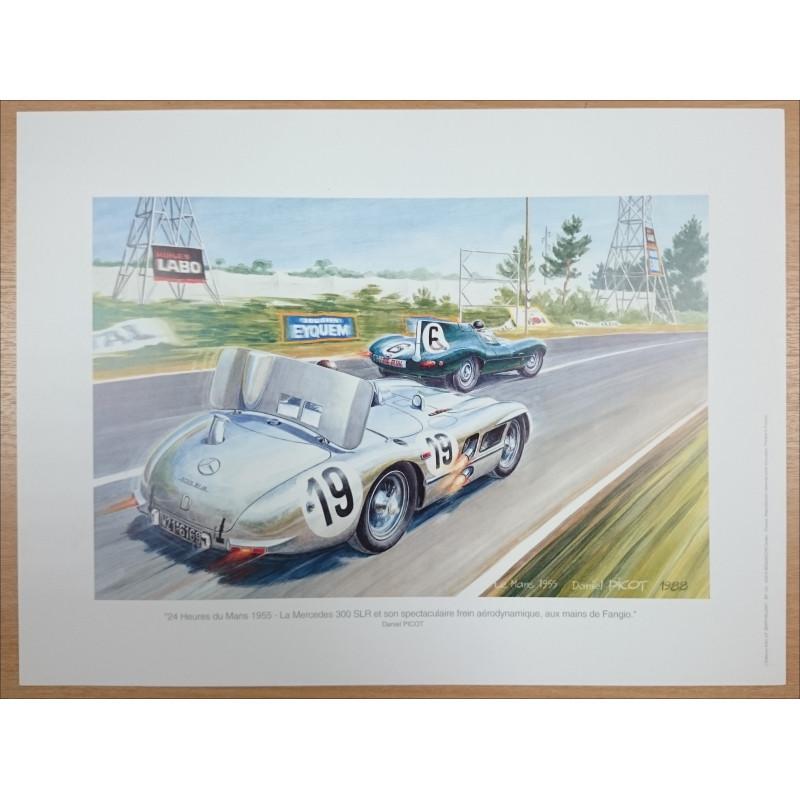 Reproduction - 24 heures du Mans 1955 - MERCEDES 300 SLR Librairie Automobile SPE picot55
