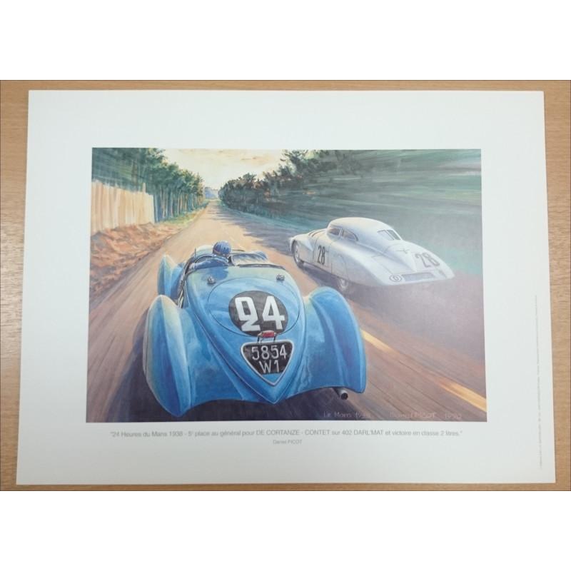 Reproduction - 24 heures du Mans 1938- DARL'MAT 402 , Daniel PICOT Librairie Automobile SPE picot38