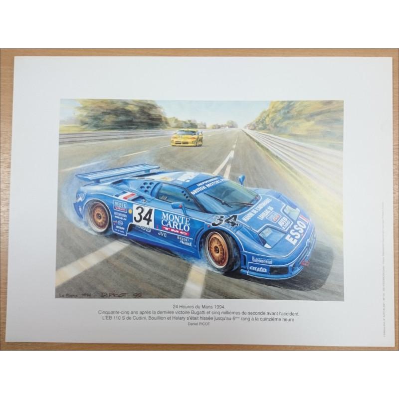Reproduction - 24 heures du Mans 1994- BUGATTI EB, Daniel PICOT Librairie Automobile SPE picot94