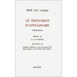 LE TESTAMENT D'APOLLINAIRE de RENÉ GUY CADOU Librairie Automobile SPE 9782856682289