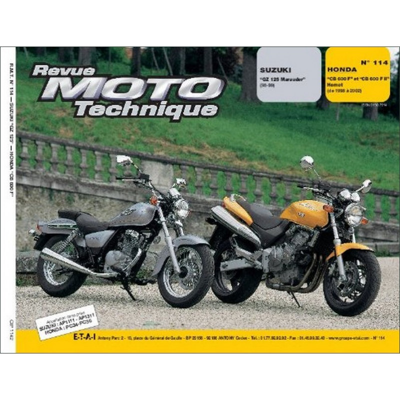 REVUE MOTO TECHNIQUE SUZUKI GZ 125 MARAUDER de 1998 et 1999 - RMT 114 Librairie Automobile SPE 9782726891582