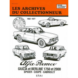 ALFA ROMEO GIULIA et BERLINE 1750 et 2000 de 1962 à 1977 ARC 36