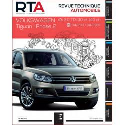 REVUE TECHNIQUE VOLKSWAGEN TIGUAN I PHASE 2 de 2011 à 2016- RTA 810 Librairie Automobile SPE 9791028306021