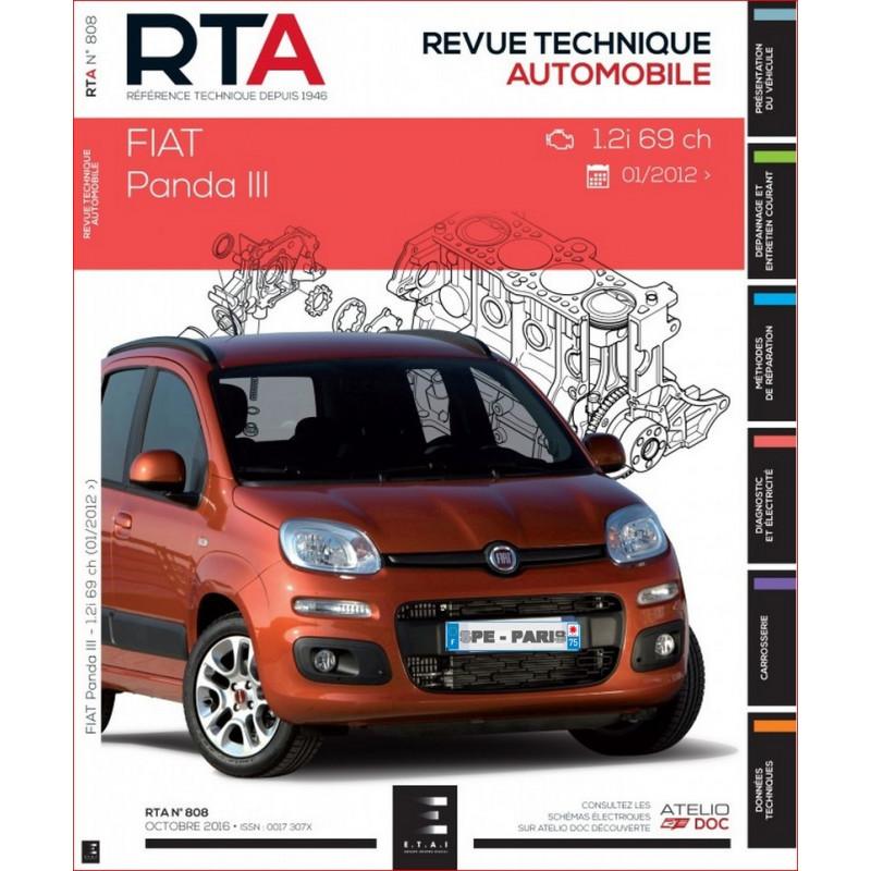 REVUE TECHNIQUE FIAT PANDA III depuis 2012 - RTA 808 Librairie Automobile SPE 9791028305994