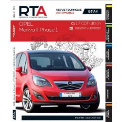 REVUE TECHNIQUE OPEL MERIVA II PHASE 1 de 2010 à 2013 - RTA B795 Librairie Automobile SPE 9782726879559