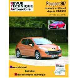 REVUE TECHNIQUE PEUGEOT 207 ESSENCE et DIESEL DEPUIS 2006 - RTA B711 Librairie Automobile SPE 9782726871157