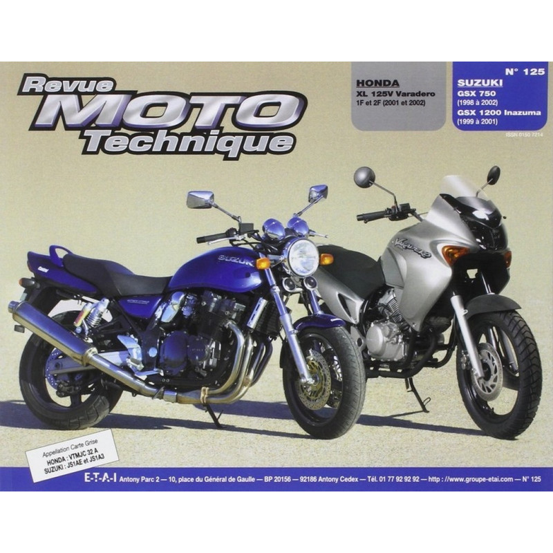 REVUE MOTO TECHNIQUE HONDA XL 125 VARADERO de 2001 et 2002 - RMT 125 Librairie Automobile SPE 9782726891896