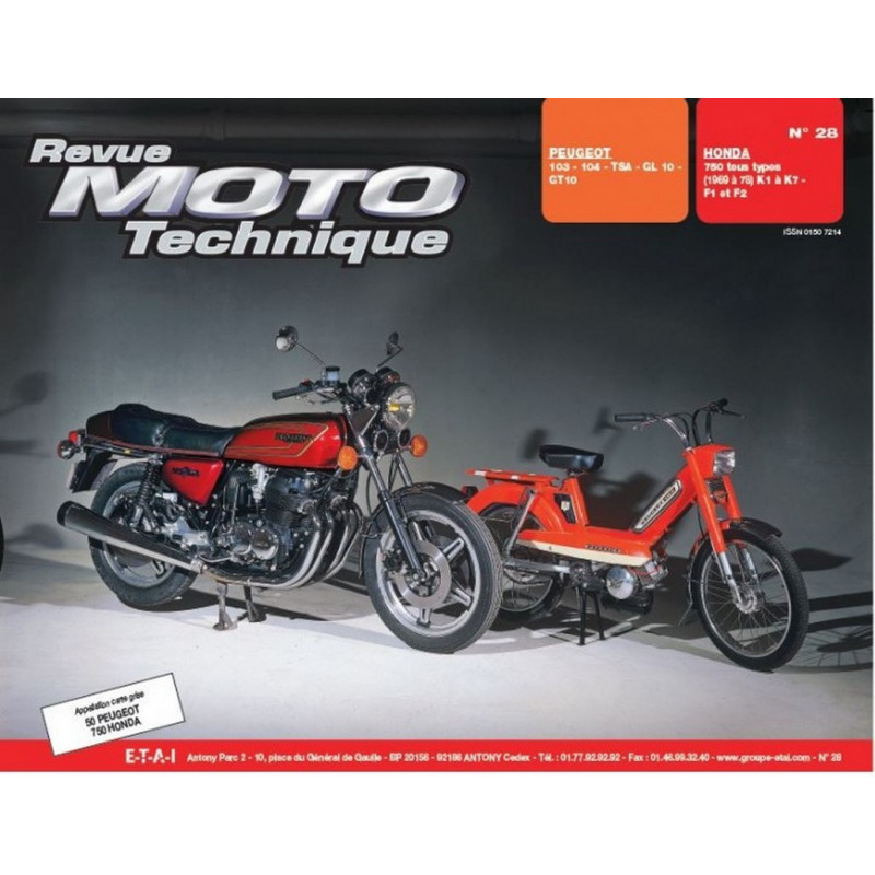 REVUE MOTO TECHNIQUE PEUGEOT 103 et 104 TSA / GL et GT 10 - RMT 28 Librairie Automobile SPE 9782726890219