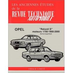 REVUE TECHNIQUE OPEL REKORD D Moteurs 1700-1900-2000 Librairie Automobile SPE RTA ANC OPEL