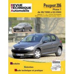REVUE TECHNIQUE PEUGEOT 206 PHASE 1 - RTA 103 Librairie Automobile SPE 9782726810316