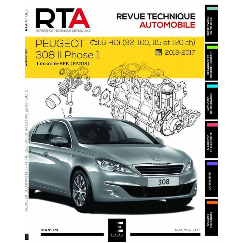 9791028306151 revue technique peugeot 308 1 6 hdi depuis 2013 rta 820. Black Bedroom Furniture Sets. Home Design Ideas