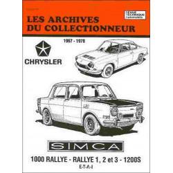 Simca Chrysler 1000 Rallye Rallye 1,2 et 3 & 1200S 1967-1978 ARC37 / ETAI Librairie Automobile SPE 9782952801607