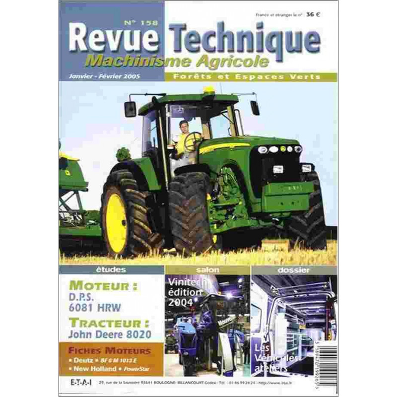 REVUE TECHNIQUE JOHN DEERE 8120 / 8220 / 8320 / 8420 / 8520 Librairie Automobile SPE RTMA158
