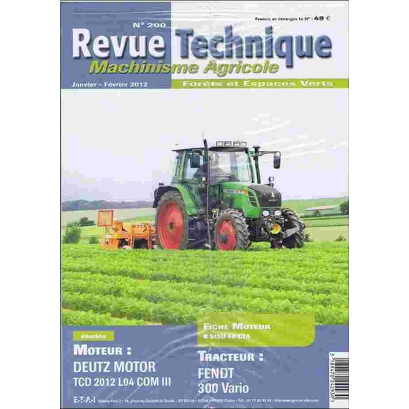 REVUE TECHNIQUE FENDT 300 VARIO Librairie Automobile SPE RTMA200