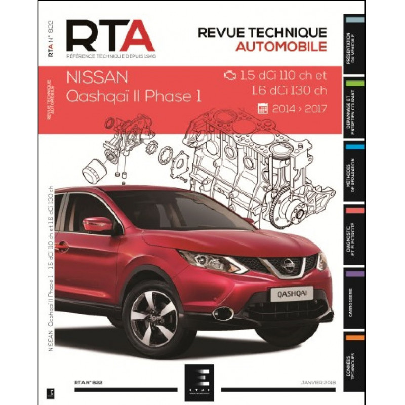 REVUE TECHNIQUE NISSAN QASHQAI PHASE 2 de 2014 à 2017 - RTA 822 Librairie Automobile SPE 9791028306199