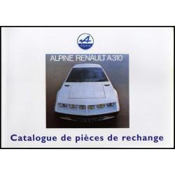 ALPINE A310 CATALOGUE DE PIÈCES de RECHANGE Librairie Automobile SPE ALP CAT