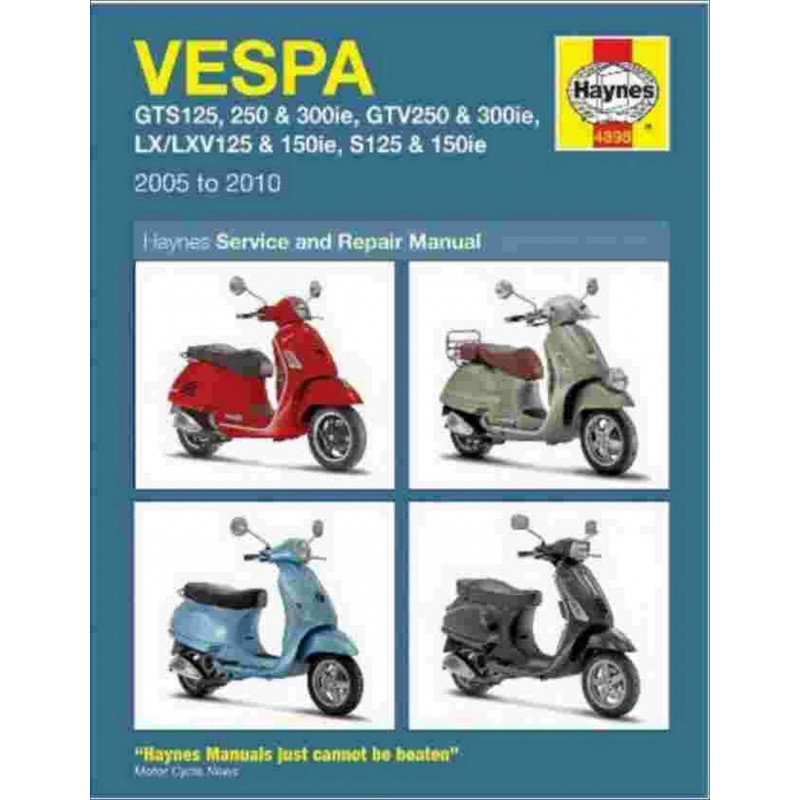 VESPA de 2005 à 2010 -SERVICE and REPAIR MANUAL Librairie Automobile SPE 9781844258987