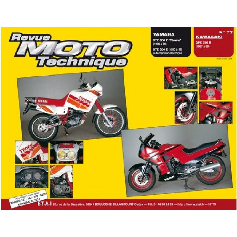 REVUE MOTO TECHNIQUE KAWASAKI GPX 750 de 1987 à 1989 - RMT 73 Librairie Automobile SPE 9782726891292