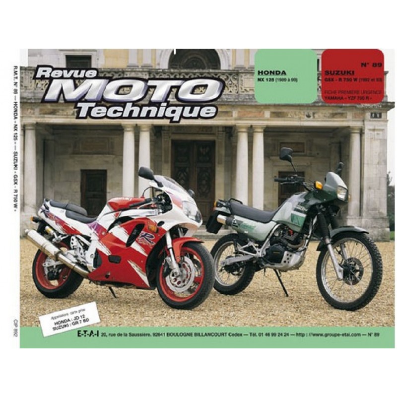 REVUE MOTO TECHNIQUE HONDA NX 125 de 1989 à 1999 - RMT 89 Librairie Automobile SPE 9782726890837