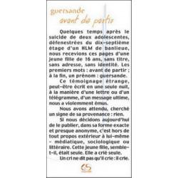 Avant de partir de Guersande Ed. Le Grand Souffle Librairie Automobile SPE 9782952076050