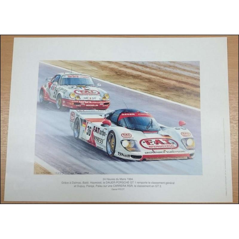 Reproduction des 24 Heures du Mans 1994 PORSCHE, Daniel PICOT Librairie Automobile SPE picot94