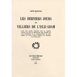 LES DERNIERS JOURS DE VILLERS DE L'ISLE-ADAM de LEON DEFFOUX Librairie Automobile SPE LES DERNIERS JOURS