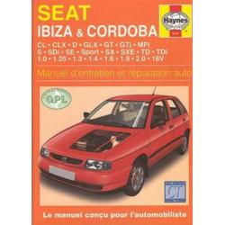 MANUEL ENTRETIEN ET RÉPARATION SEAT IBIZA / CORDOBA (ESS et DIE) DE 1993 à 99 Librairie Automobile SPE 9781859605837
