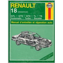 MANUEL ENTRETIEN ET RÉPARATION AUTO RENAULT 18 ESSENCE de 1978 à 1986 Librairie Automobile SPE 038345018053