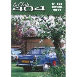 LE CLUB 404 LE MAGAZINE PEUGEOT N°126 Librairie Automobile SPE LE CLUB 404 N°126