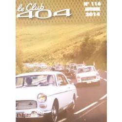 LE CLUB 404 LE MAGAZINE PEUGEOT N°116 Librairie Automobile SPE LE CLUB 404 N°116