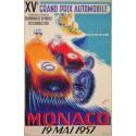 AFFICHE GRAND PRIX DE MONACO 1957 ( 68 x 100 cm ) Librairie Automobile SPE Affiche Monaco 1957