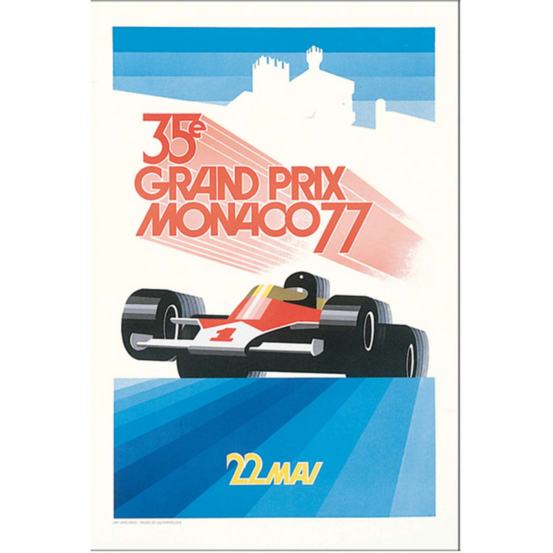 AFFICHE GRAND PRIX DE MONACO 1977 ( 68 x 100 cm ) Librairie Automobile SPE Affiche Monaco 1977
