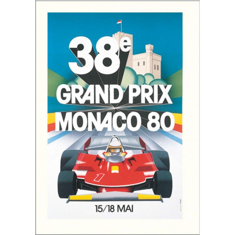 AFFICHE GRAND PRIX DE MONACO 1980 ( 68 x 100 cm ) Librairie Automobile SPE Affiche Monaco 1980