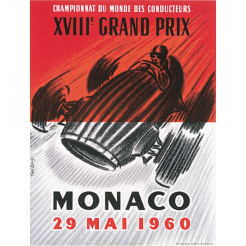 AFFICHE GRAND PRIX DE MONACO 1960 ( 65 x 90 cm ) Librairie Automobile SPE Affiche Monaco 1960