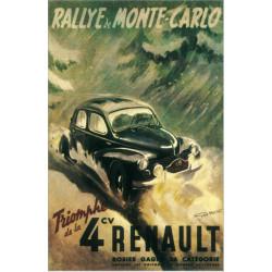 AFFICHE RENAULT 4 CV MONTE-CARLO Par Geo HAM