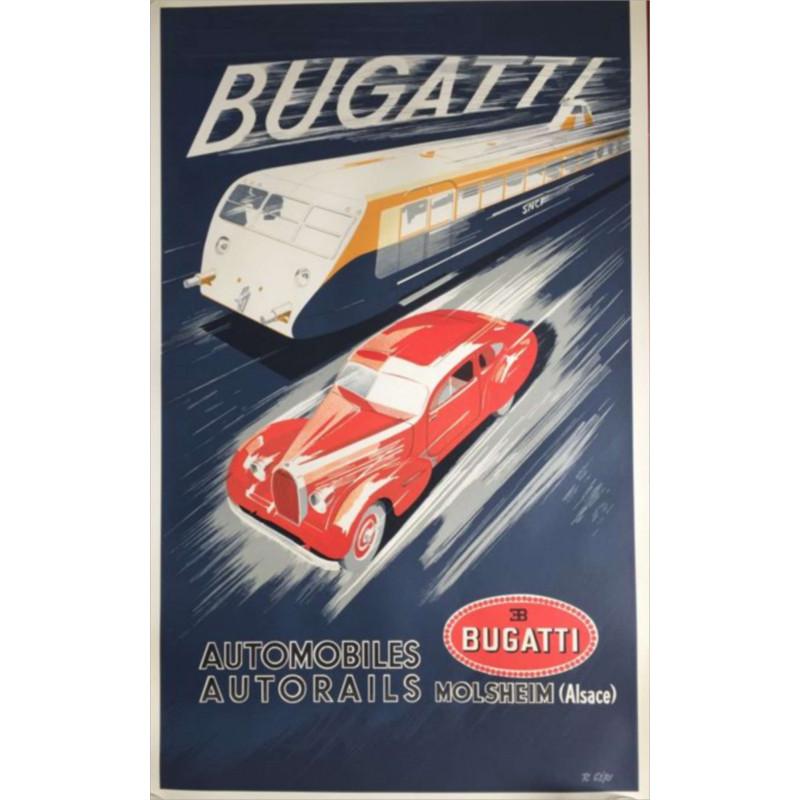 AFFICHE BUGATTI AUTORAIL ( 62.50 X 101 cm ) Librairie Automobile SPE AFFICHE BUGATTI