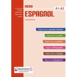 Mémo espagnol A1-A2 ( Collége ) Corriger Apprendre Mémoriser Réviser - Génération 5