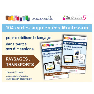 """Jeux de cartes augmentées Montessori 104 cartes """"Paysages et Transports"""" / Génération 5"""