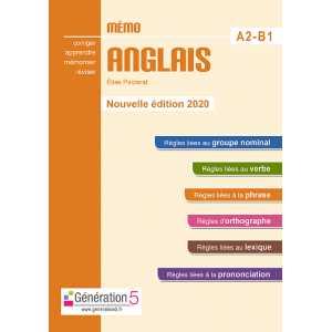 MEMO ANGLAIS A2-B1 - EDITION 2020 / GENERATION 5 / 9782362463501