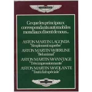 Dépliant ASTON MARTIN