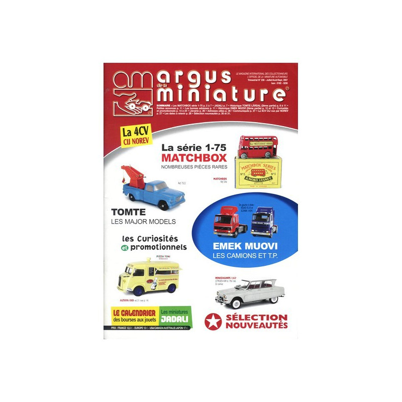 ARGUS MINIATURE N°239 - MATCHBOX 1-75 PIECES RARES Librairie Automobile SPE ARGUS239