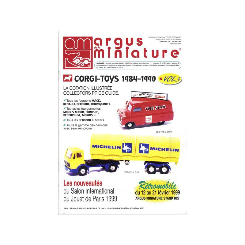 ARGUS MINIATURE N°195 - CORGI - TOYS 1984-1990 Librairie Automobile SPE ARGUS195
